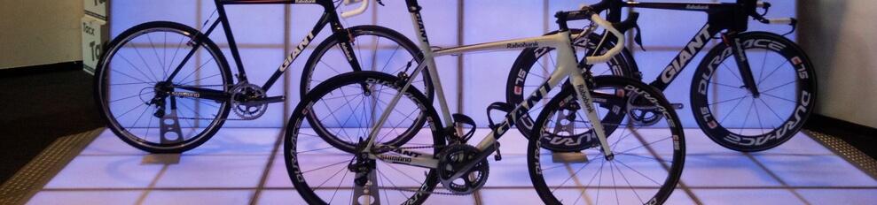 Een beursstand van Ledlichtvloer  voor fietsen merk Giant